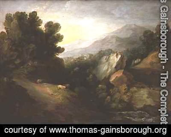 Thomas Gainsborough - Rocky wooded landscape with sheep by a waterfall