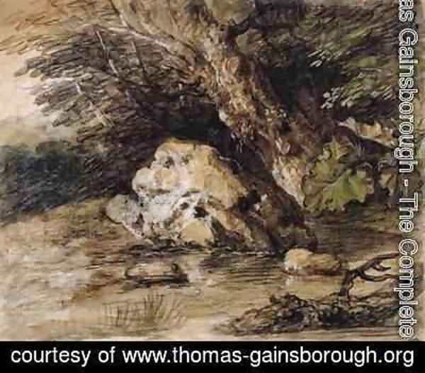 Thomas Gainsborough - A Hilly Landscape with Figures Approaching a Bridge