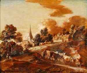 Thomas Gainsborough - An Imaginary Wooded Village with Drovers and Cattle