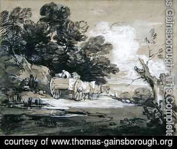 Wooded Landscape with Country Cart and Figures