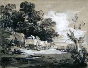 Thomas Gainsborough - Wooded Landscape with Country Cart and Figures