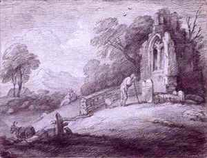 Thomas Gainsborough - Churchyard with Figure Contemplating Tombstone