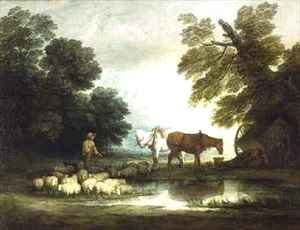 Shepherd by a Stream