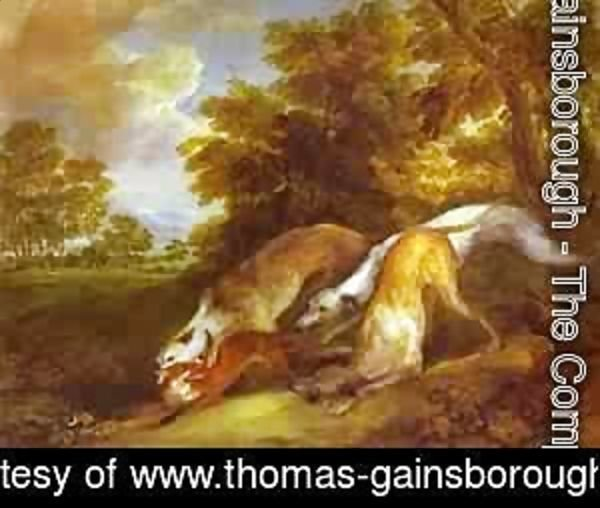 Thomas Gainsborough - Dogs Chasing A Fox 1784-1785