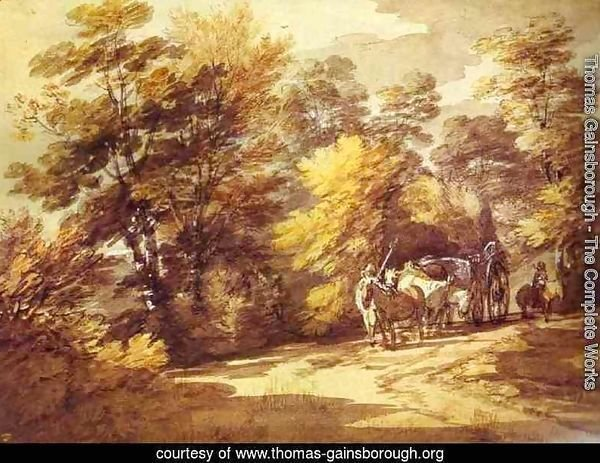 Wooded Landscape With A Waggon In The Shade 1760s