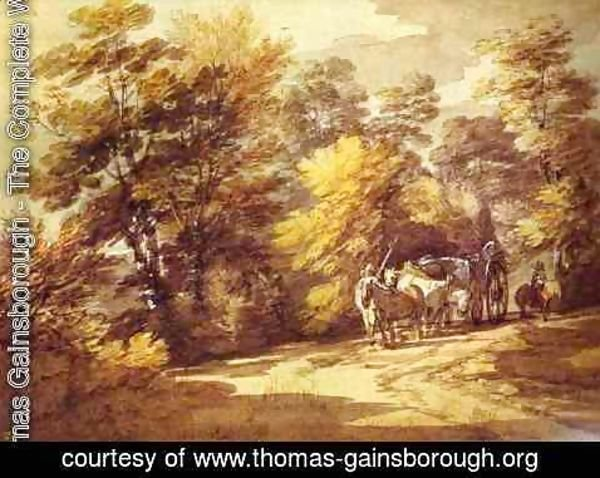 Thomas Gainsborough - Wooded Landscape With A Waggon In The Shade 1760s