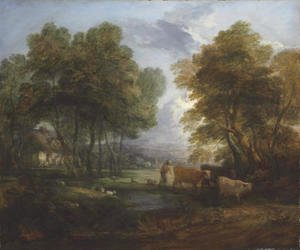 Thomas Gainsborough - A wooded landscape with a herdsman, cows and sheep near a pool