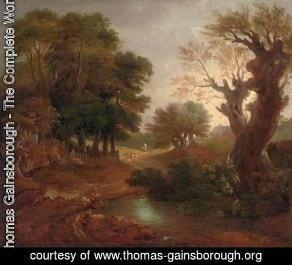 Thomas Gainsborough - A wooded landscape with a pond and a figure on a path