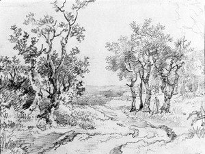 Thomas Gainsborough - A country track in a wooded landscape
