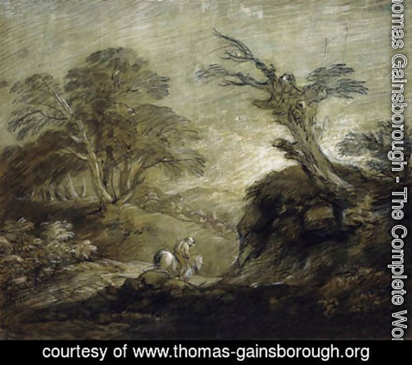 Thomas Gainsborough - A horseman on a track in a wooded landscape