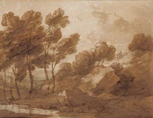 Thomas Gainsborough - A landscape with trees by a pool