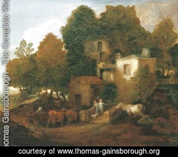 Thomas Gainsborough - A lodge in a park, with children descending steps