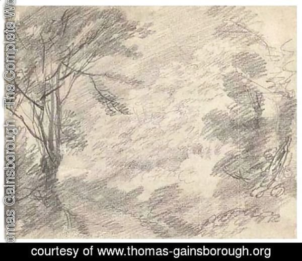 Thomas Gainsborough - A road through a wood with hilly ground to the right