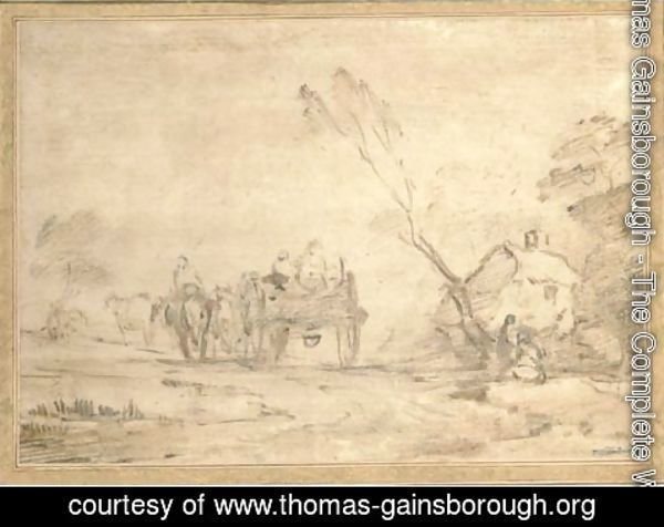 Thomas Gainsborough - A wooded landscape with a horse and cart on a country path, a cottage beyond