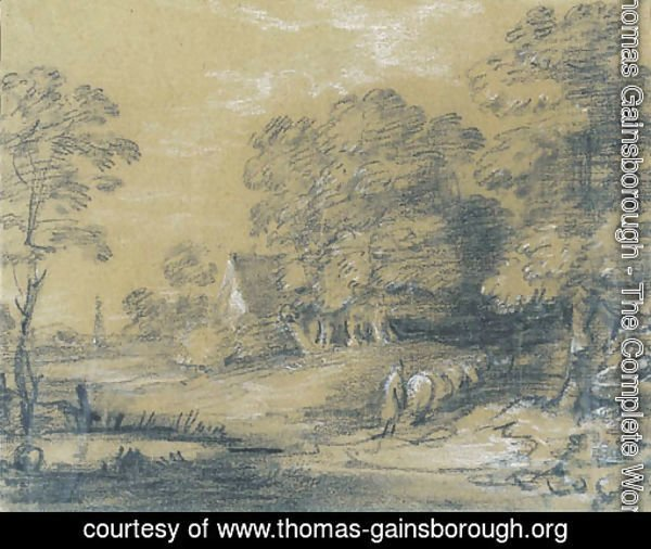A wooded landscape with a shepherd and his flock fording a stream, a cottage beyond