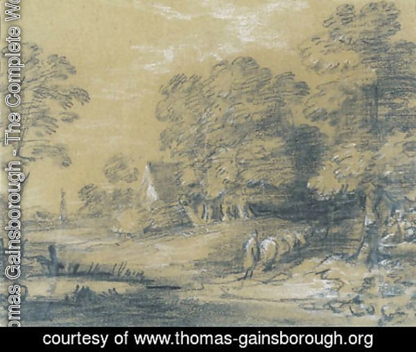 Thomas Gainsborough - A wooded landscape with a shepherd and his flock fording a stream, a cottage beyond