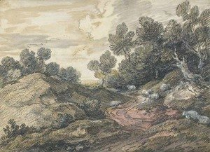 Thomas Gainsborough - A wooded landscape with sheep grazing by a winding track