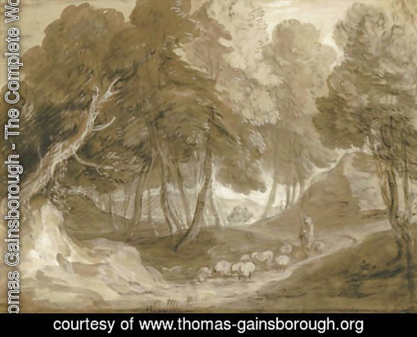 A wooded landscape with shepherd and sheep