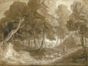 Thomas Gainsborough - A wooded landscape with shepherd and sheep