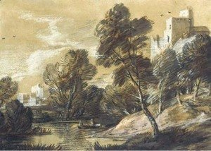 Thomas Gainsborough - A wooded river landscape with figures in a boat and buildings