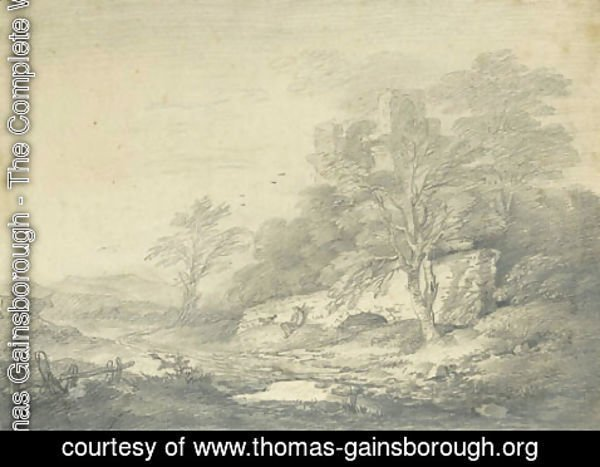 Thomas Gainsborough - An extensive landscape with a traveller resting below a stone bridge, a ruined castle on a hill beyond