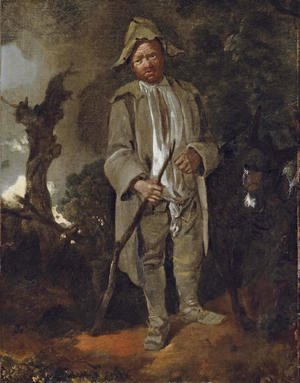Thomas Gainsborough - An old peasant with a donkey in a wooded landscape