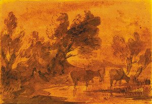 Thomas Gainsborough - Cattle watering in a wooded landscape