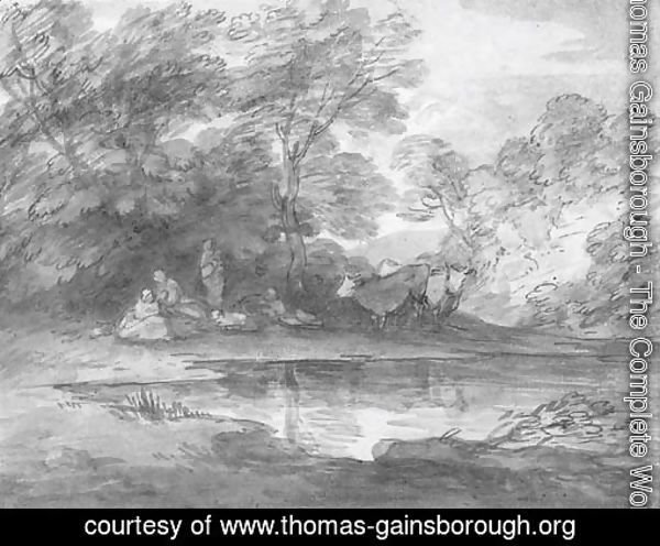 Figures and cattle in a wooded landscape