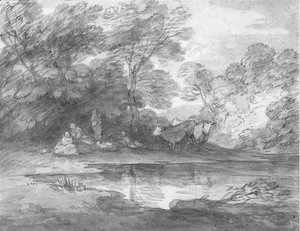 Thomas Gainsborough - Figures and cattle in a wooded landscape
