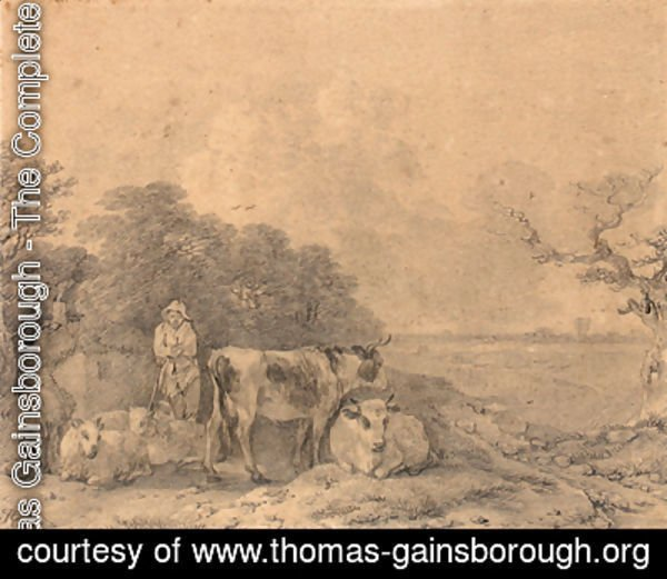 Herdsman with cows and sheep outside a cottage at the edge of a wood