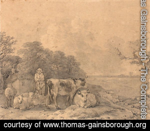 Thomas Gainsborough - Herdsman with cows and sheep outside a cottage at the edge of a wood