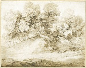 Thomas Gainsborough - Travellers on a track in a landscape