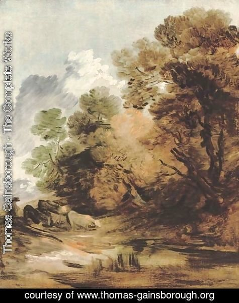 Thomas Gainsborough - Wooded landscape with a herdsman driving cattle towards a pool