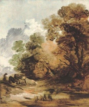 Wooded landscape with a herdsman driving cattle towards a pool