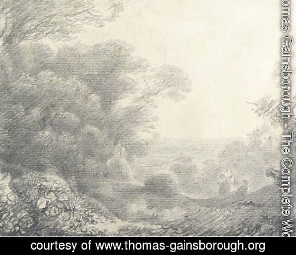 Thomas Gainsborough - Wooded landscape with figures, donkeys and buildings
