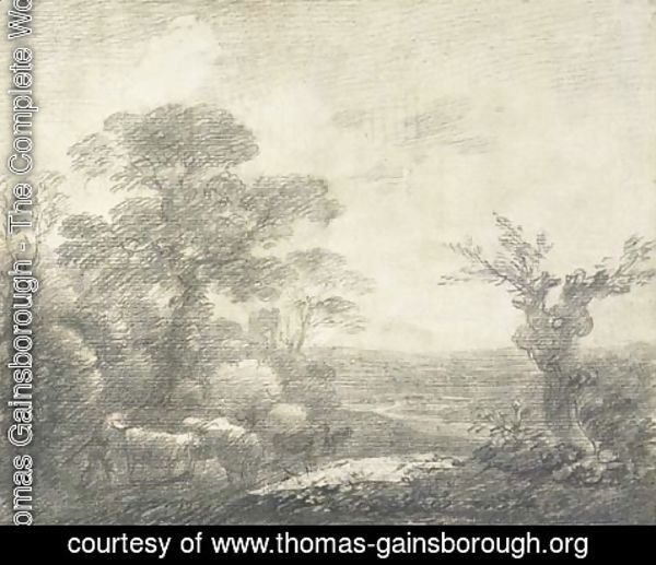 Thomas Gainsborough - Wooded landscape with herdsmen, cows, river and church tower