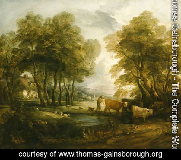 Thomas Gainsborough - A wooded Landscape with Herdsmen, Cows and Sheep near a Pool, figures outside a cottage beyond