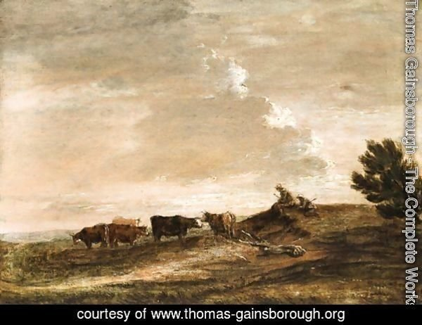 Open Landscape With Rustics And Cattle