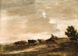 Thomas Gainsborough - Open Landscape With Rustics And Cattle