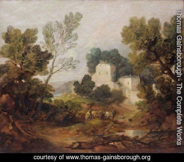Wooded Landscape With A Driver And Cattle And A Distant Mansion