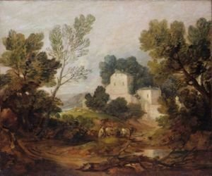 Thomas Gainsborough - Wooded Landscape With A Driver And Cattle And A Distant Mansion