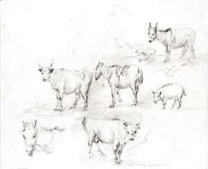 Thomas Gainsborough - Study Of Horses, Cows, A Donkey And A Pig