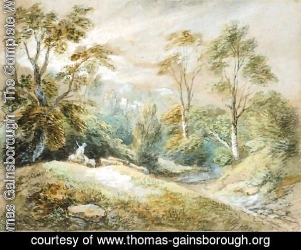 Thomas Gainsborough - A Wooded Landscape With Herdsman And Cattle