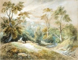 A Wooded Landscape With Herdsman And Cattle
