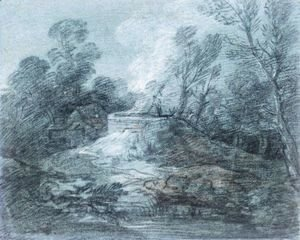 Thomas Gainsborough - Wooded Landscape With Figure, Lime Kiln And Farm Building