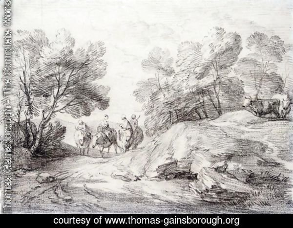 Wooded Landscape With Four Riders And Two Cows