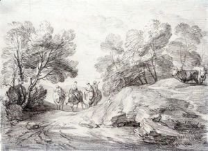 Thomas Gainsborough - Wooded Landscape With Four Riders And Two Cows