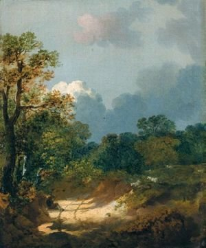Thomas Gainsborough - Wooded Landscape With Shepherd Resting By A Sunlit Track And Scattered Sheep