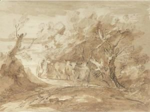 Thomas Gainsborough - Milkmaids With Cattle On A Country Track