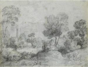 Thomas Gainsborough - Wooded Landscape With A Traveller On A Country Road, A Church And Cottages Beyond